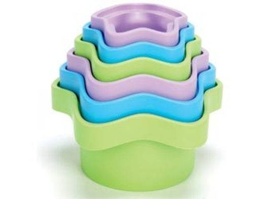 New Green Toys Stacking Cups Set Of 6 100 Recycled Bpa