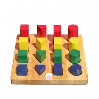 QToys - Wooden Multi- Coloured Wooden Shape & Size Board