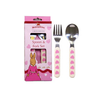 Bunnykins - Fork and Spoon Set - Sweethearts Design - Pink