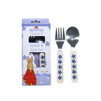Bunnykins - Fork and Spoon Set Shining Stars Design - Blue