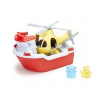 Green Toys Rescue Boat and Helicopter Bath and Water Toy 100% Recycled BPA free