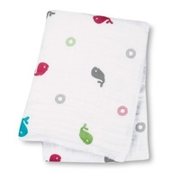 Lulujo Muslin Cotton Wrap Whales