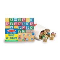 Melissa & Doug Wooden Abc / 123 Building Block Set