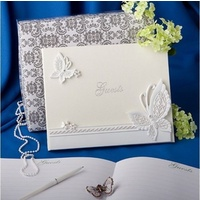 Wedding & Event Guest Book - Butterfly Themed Design White