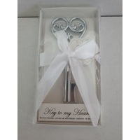 Wedding Bomboniere & Favours - Bottle Opener Key To My Heart - Silver