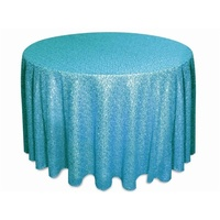 Wedding & Event Linen - 120inch Round Sequin Tablecloth - Turquoise