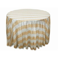 Wedding & Event Linen - 120inch Grand Duchess Stripped Sequin Tablecloth - Gold
