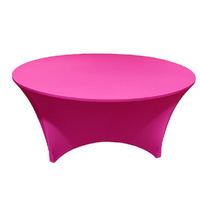 Wedding & Event Linen - Round Lycra/Spandex Fitted Tablecloth Cover - Fushia 6Ft (1.8m)