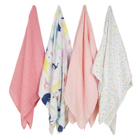 The Little Linen Company - Weegoamigo Baby Muslin Swaddle - 4 Pack - Party Animals